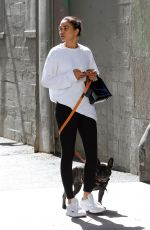 Shanina Shaik Appears sad as she is spotted walking her dog in Los Angeles