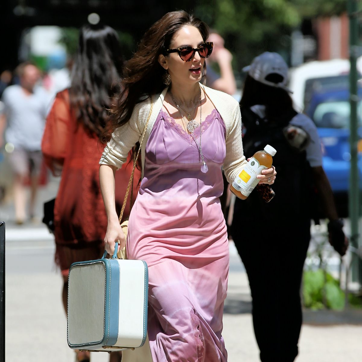 Alexa Ray Joel Wearing A Pink Slip Dress, Carries A Retro