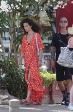 Chiara Scelsi In a red bikini while out with a friend in Ibiza