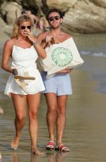 Chloe Meadows With her boyfriend George Wales at the beach on Mykonos Island, Greece