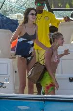 Kendall Jenner & Hailey Baldwin in swimsuits and bikinis on a boat in Jamaca