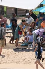 Lea Michele Is spotted on a beach set in Oahu Hawaii filming