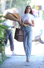 Olivia Culpo Makes a run to the flower shop after getting a haircut in LA