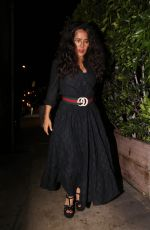 Salma Hayek Looks great in a long black dress with a Gucci belt as she leaves Giorgio Baldi for dinner in Santa Monica