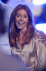 Stacey Dooley Pictured in bronze blouse while she steps out on The One Show in London