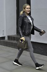 Amber Davies Arrives at the Palace Theatre for 9 to 5 musical in Manchester