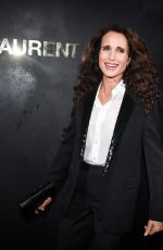 Andie MacDowell Attends the Saint Laurent Womenswear Spring/Summer 2020 show as part of Paris Fashion Week