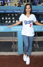 Becky G Sing the National Anthem at Dodger Stadium in Los Angeles