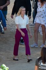 Brie Larson Seen filming a Nepresso advert in Madrid, Spain