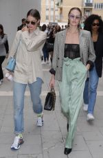 Candice Swanepoel and Doutzen Kroes seen leaving Spring Summer 2020 Max Mara show during Milan Fashion Week