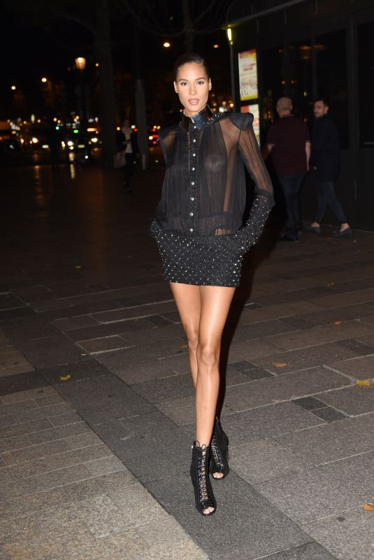 Cindy Bruna Attends the dinner at the Fouquets Restaurant for the Opening of the Fashion Week Paris