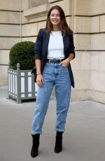 Emily DiDonato Heads to dinner outside Hotel Crillion during Paris Fashion Week