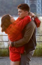 """Lucy Hale Pictured kissing Zane Holtz during a scene on the """"Katy Keene"""" set in Manhattan"""