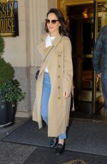 Michelle Dockery Wears a Burberry Trench Coat while heading to the Live with Kelly and Ryan in NYC