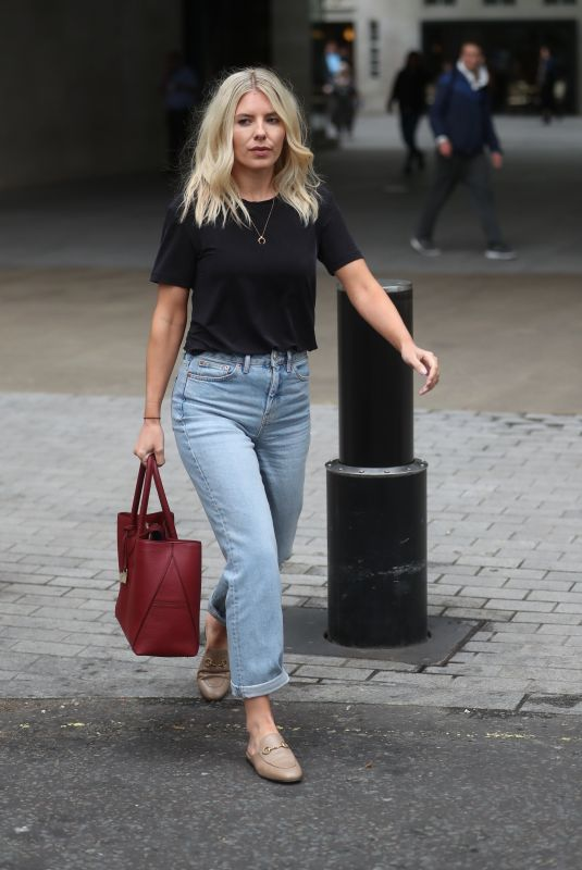 Mollie King Exits the BBC Studios in London