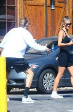 Nina Agdal Rocks a black bodysuit for a coffee date with a friend in West Hollywood