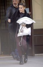 Alyssa Milano Leaves her hotel with pillow in hand in New York City