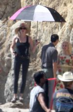 Ana De Armas Plays the role of Marilyn Monroe while filming on the beach in Malibu