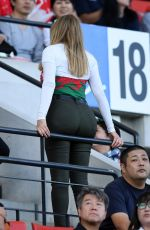 Carol Vorderman At Wales vs Uruguay Rugby World Cup Match at Kumamoto Stadium in Japan