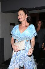 Catherine Zeta-Jones In a pale blue dress as she dines at The Grill on the Alley in Beverly Hills