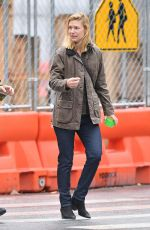 Claire Danes Wearing a brown jacket in the West Village,New York City