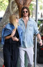 Delta Goodrem and long-time boyfriend Matthew Copley are pictured having breakfast at Kawa Cafe in Sydney
