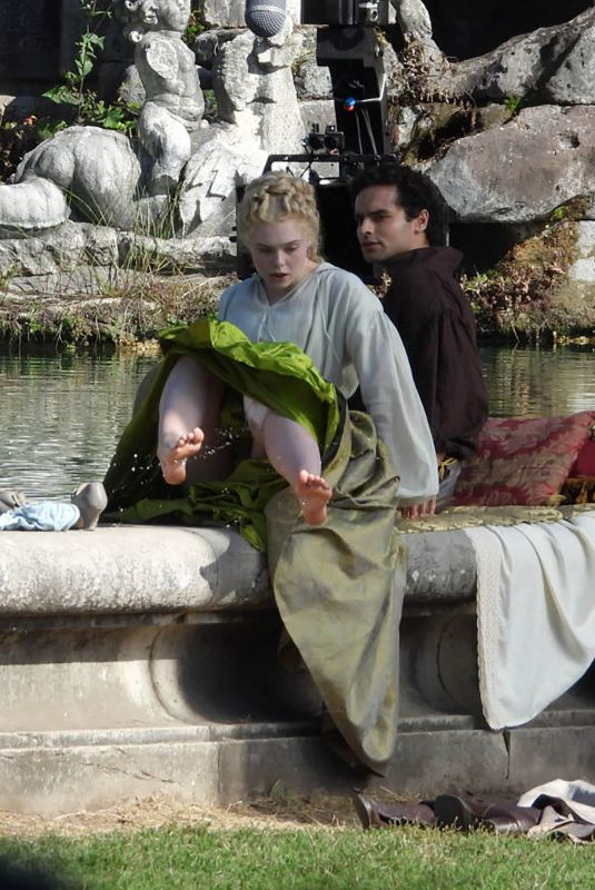 Elle Fanning Filming The Great at the Royal Palace of Caserta in Caserta, Italy