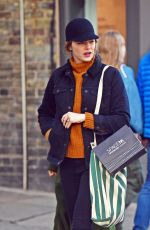 Emma Stone Pictured looking fashionable while visiting a traditional British Pub in Primrose Hill, North London