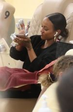 Karrueche Tran Gets her nails done at Pampered Hands nail salon in Weho
