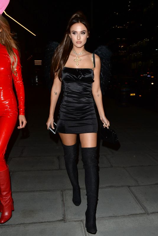 Lucy Watson Dressed as Ariana Grande for Halloween at M Restaurant in London