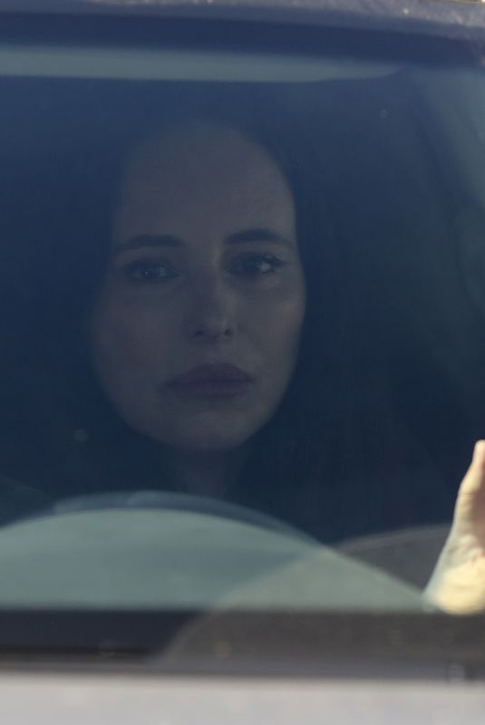 Madeleine Stowe Sitting in the divers seat of her Lexus in LA