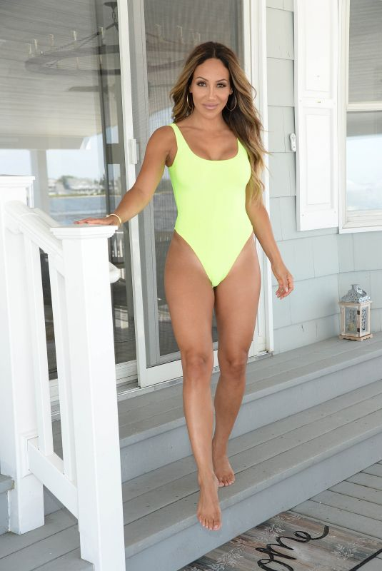 Melissa Gorga Playing by the pool in New Jersey