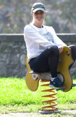 Michelle Hunziker Having fun at the park in Bergamo