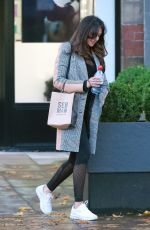 Michelle Keegan Looks dapper in her checked coat and leggings as she leaves an Hair Salon in Hale Cheshire