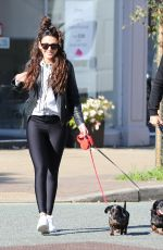 Michelle Keegan Walks her dogs through hale village in Cheshire