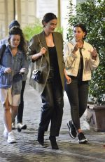 Naomi Scott and Lily Aldridge are spotted going to a restaurant, walking a bit in the streets of Rome