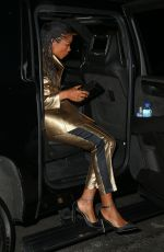 Naomie Harris In gold heading out for the evening in NYC
