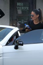Nikki Bella Steps out in all black workout clothes for a solo lunch at Verve in West Hollywood