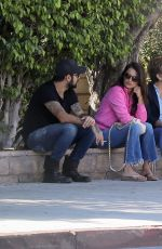 Penelope Cruz Chats with her brother Eduardo Cruz and mother Encarna Sanchez in Los Angeles