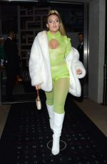 Tallia Storm Arriving at a Halloween party at M restaurant in London