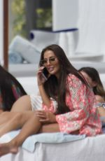 Yazmin Oukhellou, Chloe Meadows and Courtney Green seen having a break from filming in Marbella
