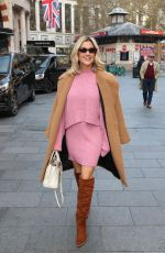 Ashley Roberts In a pink dress and Knee high suede boots exits Heart Radio in London