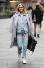 Ashley Roberts Leaving Heart Radio in stylish denim