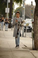 Ashley Tisdale Bundles up in a grey downcoat for an afternoon coffee run in Los Angeles