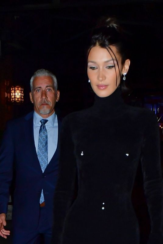 Bella Hadid Channels her inner Catwoman dressed in velvet pierced one piece for the CFDA dinner