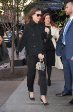 Emily Mortimer Seen in a black outfit and a silver bag for an event in Tribeca