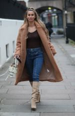 Ferne McCann In denim and knee high suede boots exits Talk Talk TV Press Campaign
