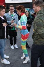 Halsey In a colorful outfit while making an appearance at Global radio in London