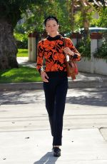 Jaime King Is pretty in vibrant flower sweater after grabbing lunch at Sweet Butter Kitchen