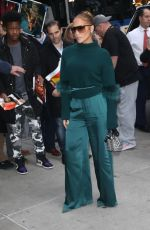Jennifer Lopez In green outside of the DGA Theater in New York